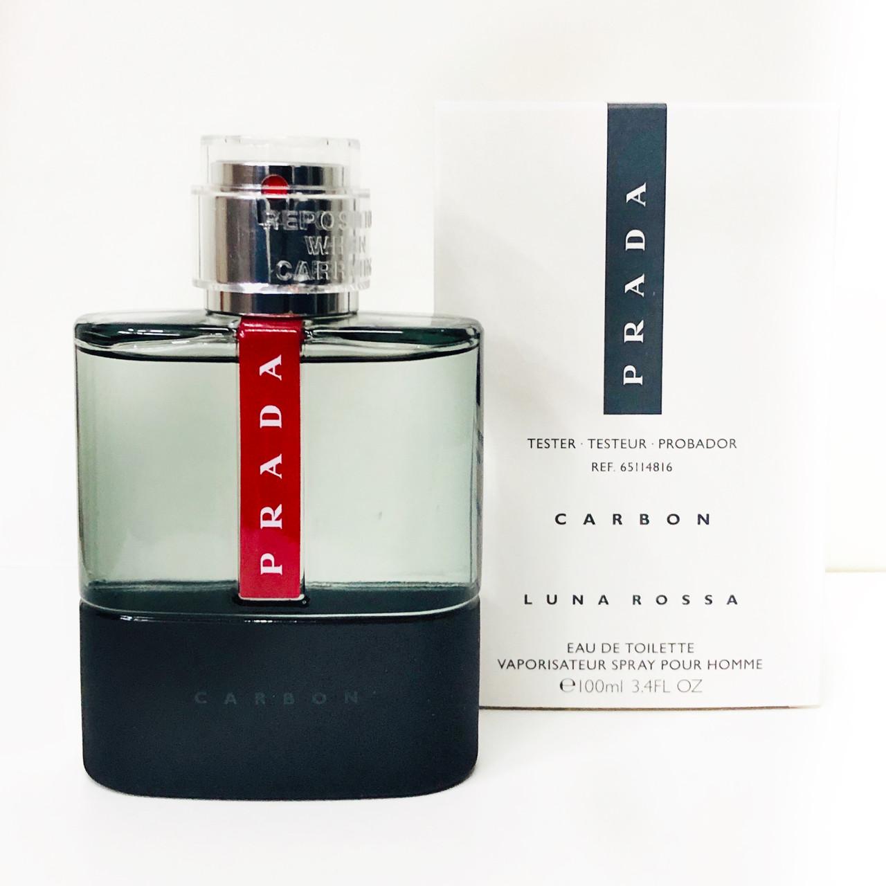 Элитные мужские духи PRADA Luna Rossa Carbon 100ml ТЕСТЕР туалетная вода, свежий пряный амбровый аромат