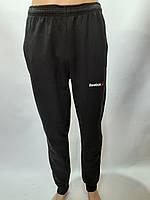 Спортивные штаны с манжетом в стиле Reebok отличного качества черные, фото 1