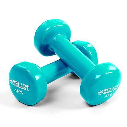 Гантели для фитнеса с виниловым покрытием 4 кг, фото 2