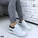 Женские кроссовки кеды белые с металлической вставкой, фото 3