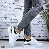Женские кроссовки кеды белые с металлической вставкой, фото 4