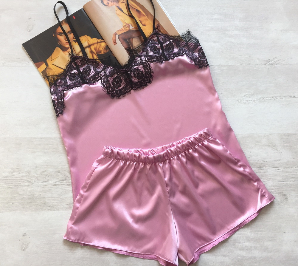 Женская атласная пижама Modashoping –для дома и сна, розовый, размер XL