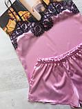 Женская атласная пижама Modashoping –для дома и сна, розовый, размер XL, фото 2