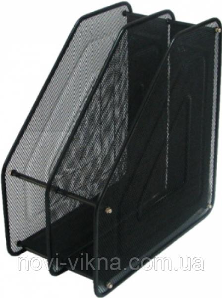 Лоток для бумаг металлический вертикальный, черный.