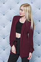 Стильный женский пиджак бордо. Большие размеры 42-52.