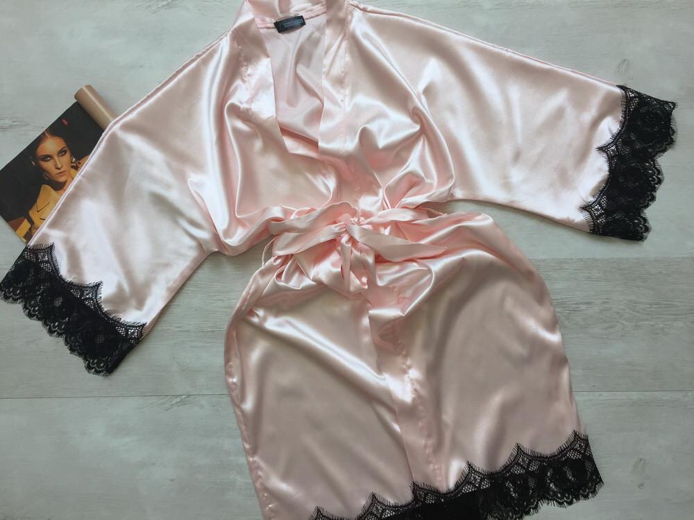 Женский атласный халат Modashoping –для дома и сна, персик, размер 3XL