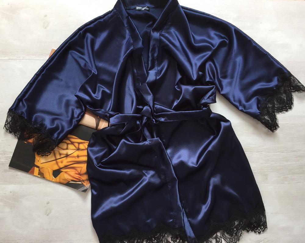 Женский атласный халат Modashoping –для дома и сна, темно-синий, размер S