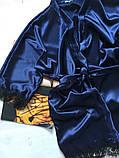 Женский атласный халат Modashoping –для дома и сна, темно-синий, размер S, фото 2
