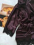 Женский атласный халат Modashoping –для дома и сна, шоколадный, размер L, фото 2