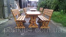 Стол и лавочки садовые из сосны, фото 3