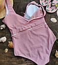 Злитий жіночий рожевий купальник з поясом, фото 2