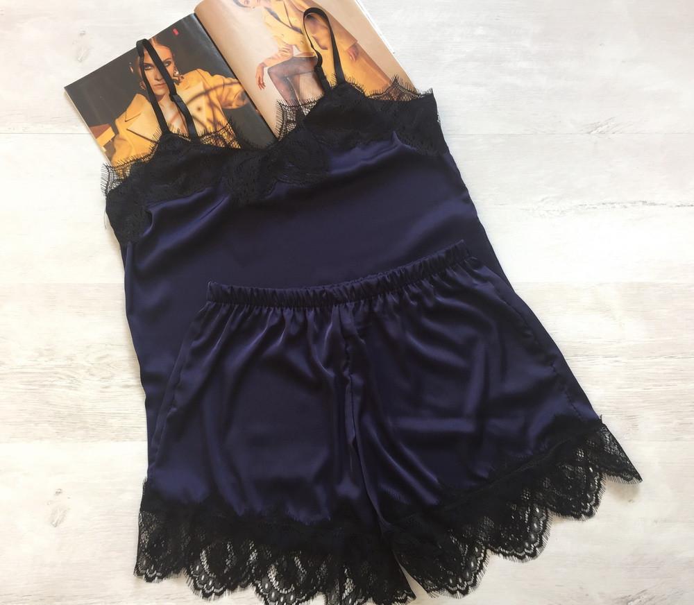 Женская шелковая пижама Modashoping –для дома и сна, темно-синий, размер XL