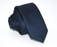 Синий мужской галстук dark blue 5 cm