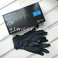 Перчатки нитриловые неопудренные черные М Nitrylex Mercator Medical 10 пар