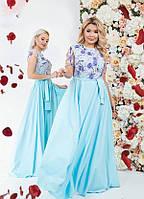 Платье женское нарядное красивое макси Elle разные цвета 42-44, 44-46, 48-50, 50-52 Голубой