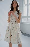 Платье на запах женское летнее повседневного стиля супер-софт 42-48р.,цвет молочный
