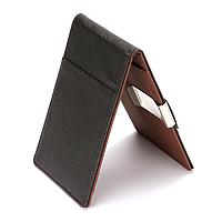 Зажим для денег, карт «Leather Clip» кошелек компактный стильный  (черно-коричневый)