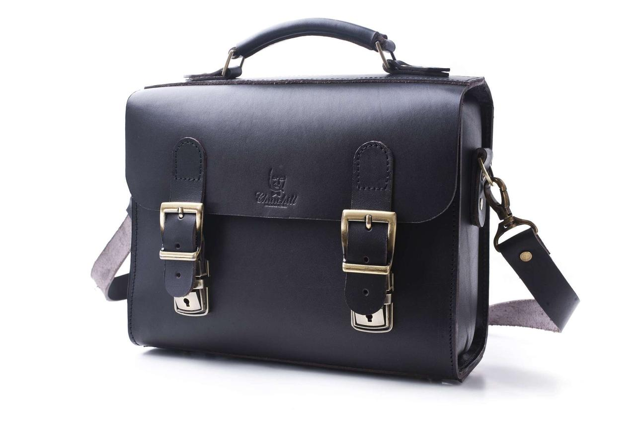 Сумка-портфель кожаная ручной работы «Shoulder bag». Black