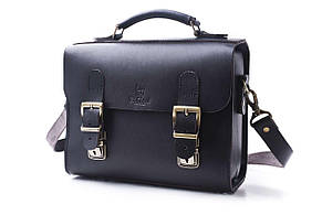 Сумка-портфель шкіряна ручної роботи «Shoulder bag». Black