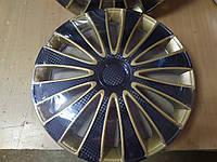 """Колпак колёсный """"STAR"""" GMK Super Black Gold (карбон) R14 (4шт) - производства России, фото 1"""