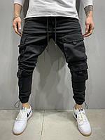 Мужские джинсы черного цвета на манжетах с накладными карманами