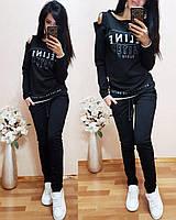 Женский однотонный черный спортивный костюм CELINE двухнитка весна/лето S/M/L/XL