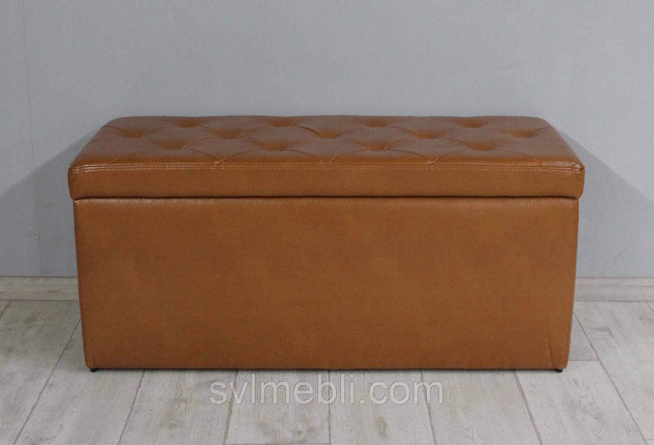 Банкетка Флоренция с ящиком экокожа коричневый