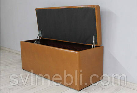 Банкетка Флоренция с ящиком экокожа коричневый, фото 2