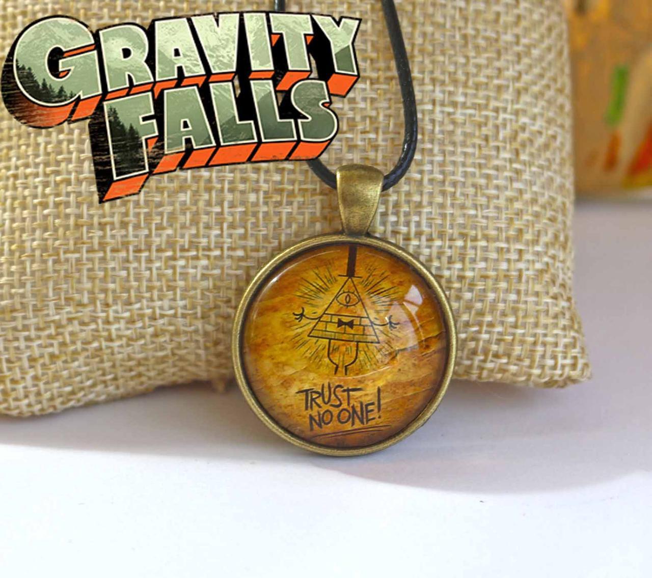Подвеска стеклянная Gravity Falls Гравити Фолз Trust No One! Не верь никому