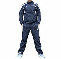 Чёрный мужской спортивный костюм плащевка   (Реплика)