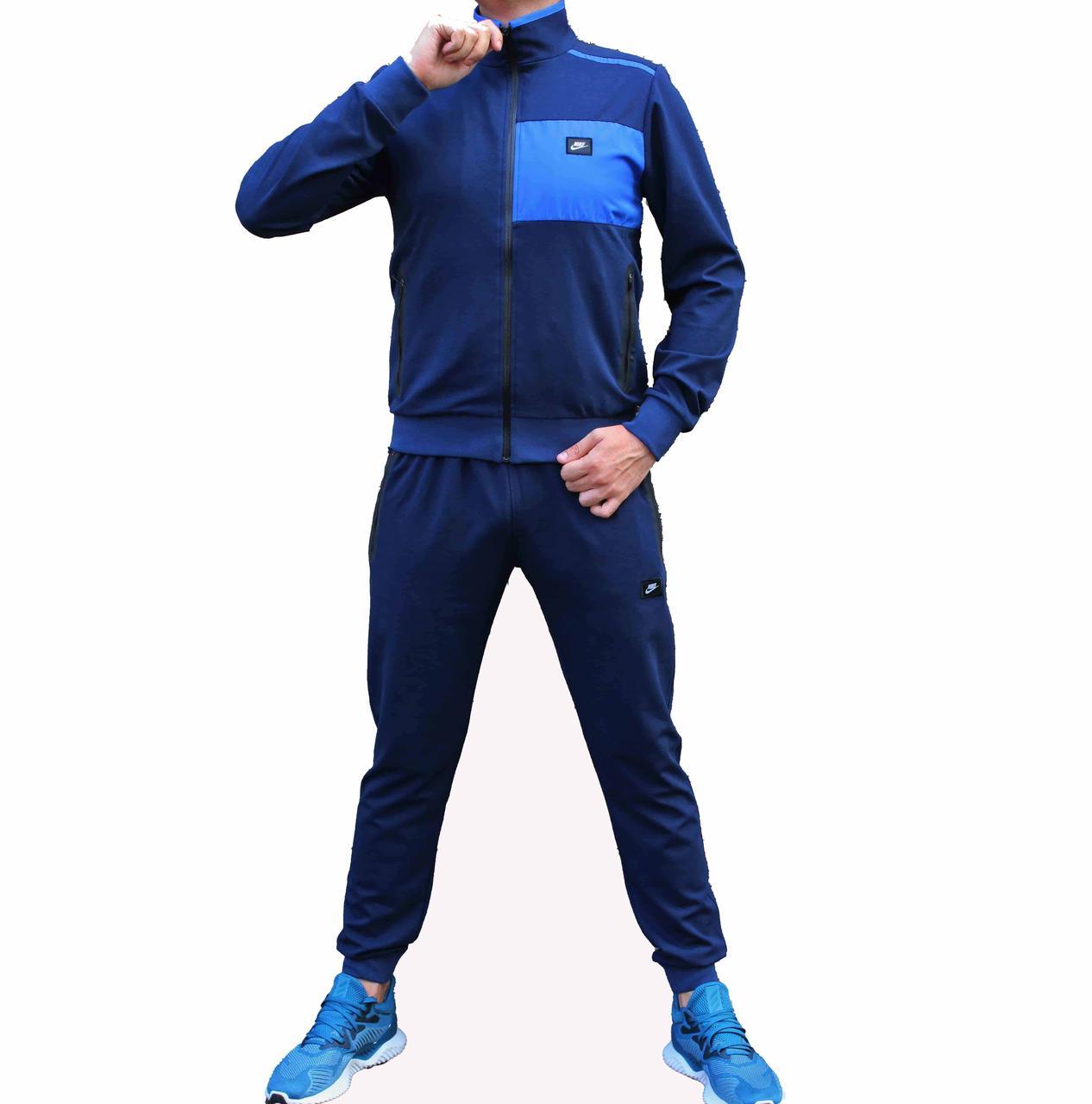Синий мужской трикотажный спортивный костюм с штанами на резинках 52 размера (Реплика)