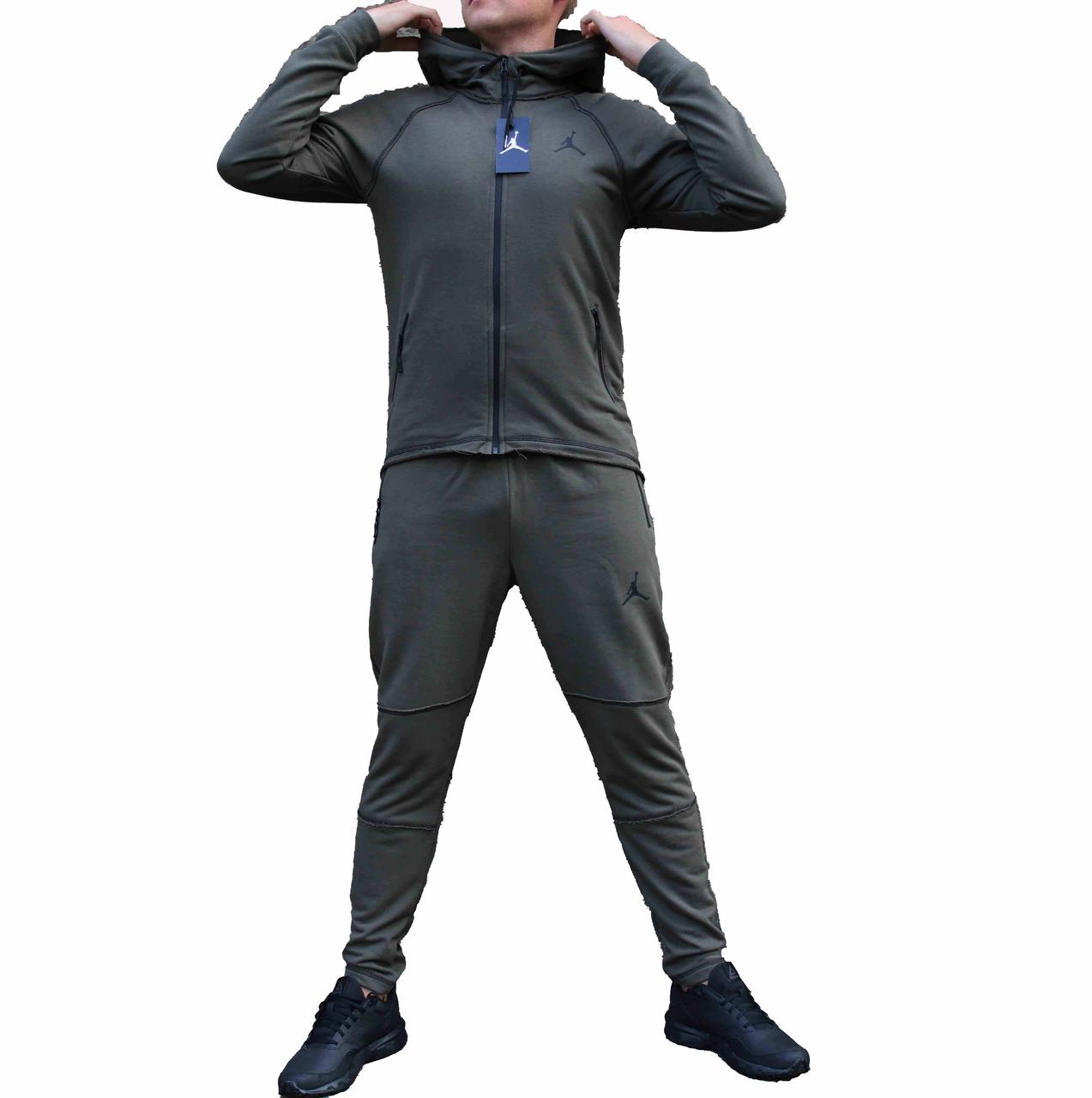 Мужской стильный трикотажный костюм Jordan с прямой курткой и штанами Хаки (Реплика)