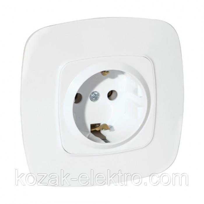 Розетка с заземляющим контактом серия ELA цвет белый