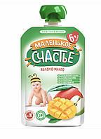 """Пюре фруктовое Яблоко-манго   """"Маленькое счастье"""" 90 гр с 6 мес"""
