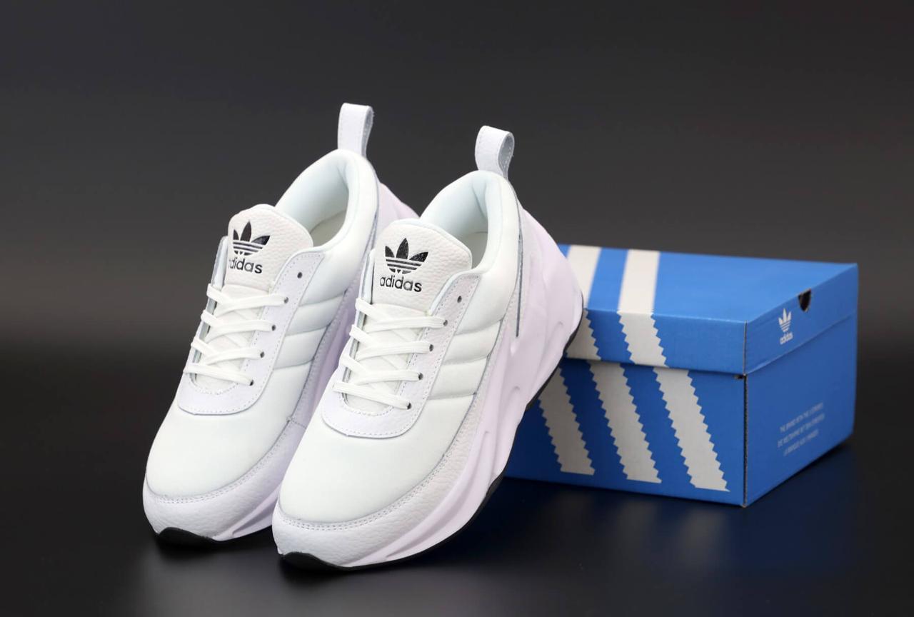 Білі кросівки Adidas Sharks Triple White (Шаркс жіночі і чоловічі розміри 36-45)