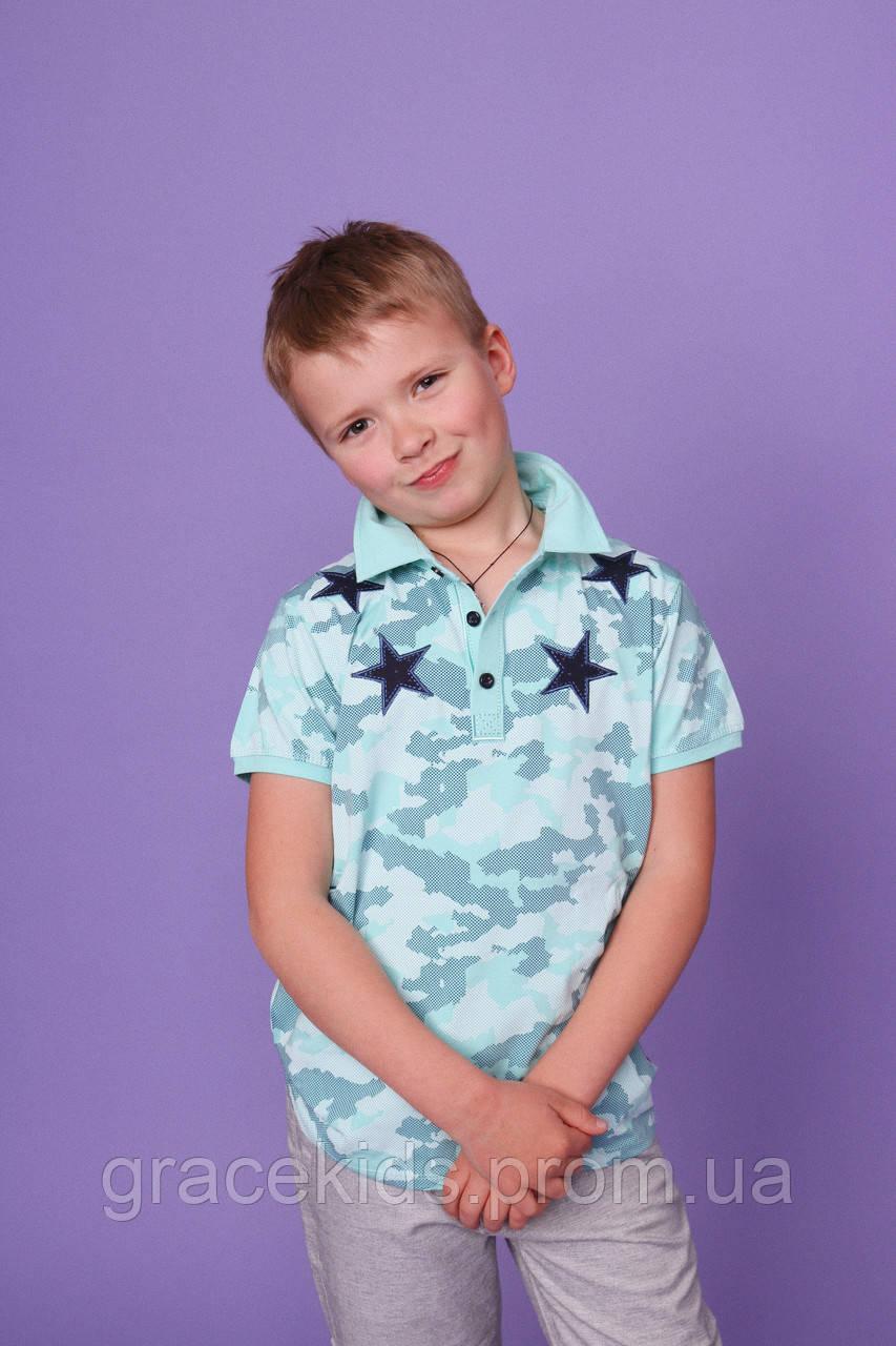 Камуфляжные футболки поло для мальчиков AKKOR,разм 10-16 лет,95% хлопок