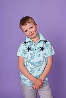 Камуфляжные футболки поло для мальчиков AKKOR,разм 10-16 лет,95% хлопок, фото 1