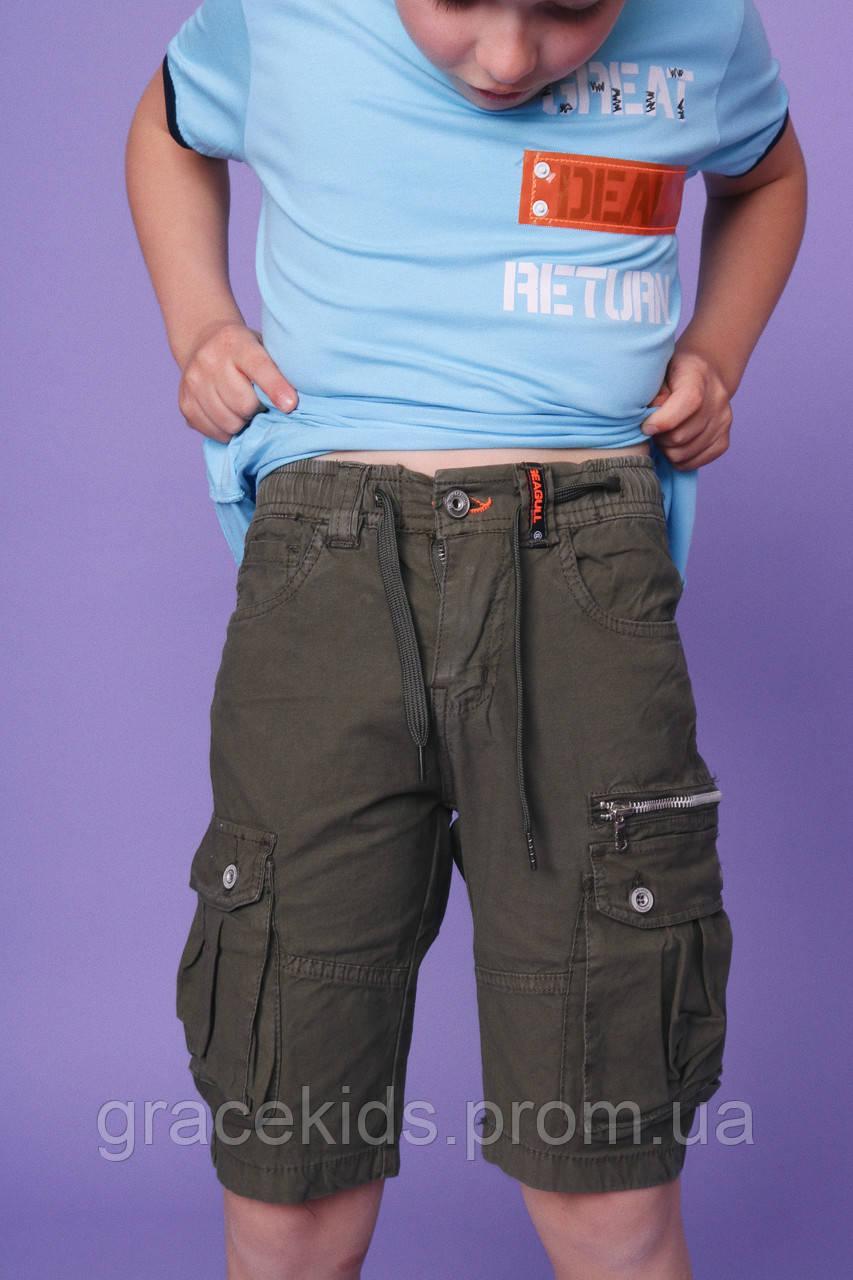 Модные котоновые шорты для мальчиков с карманами подростковые,фирма SEAGULL,разм 134-164 см