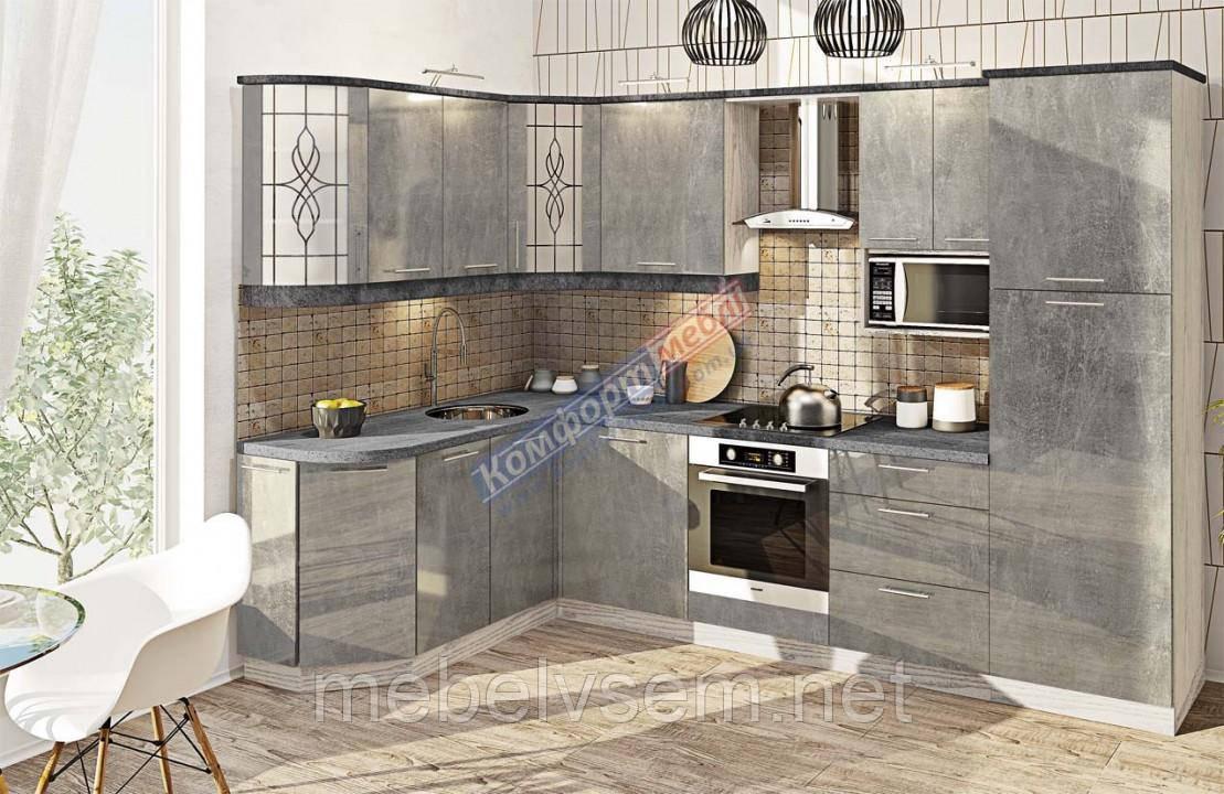 Кухня кутова фарбований високий глянець Комфорт Мебель