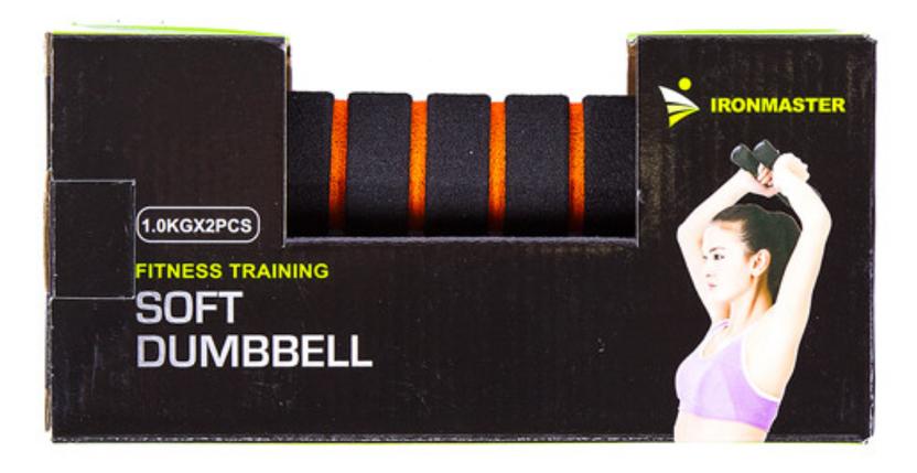 Фитнес гантели Iron Master, неопрен, 1 кг х 2 шт, черно/оранжевые, фото 2