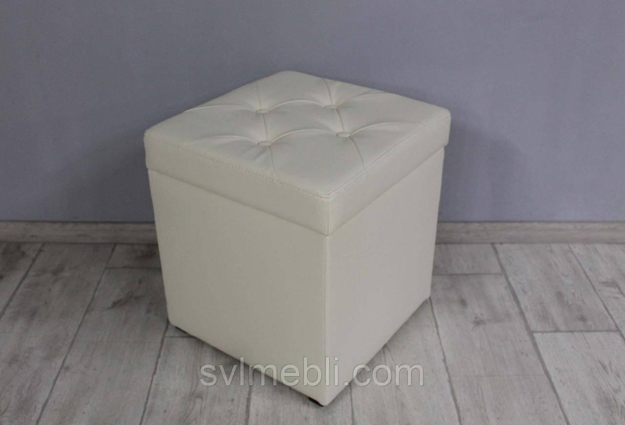 Пуф Флоренция с ящиком экокожа молочный