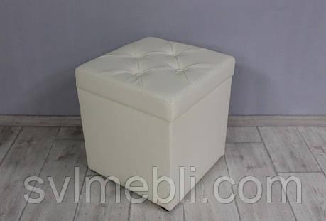 Пуф Флоренция с ящиком экокожа молочный, фото 2