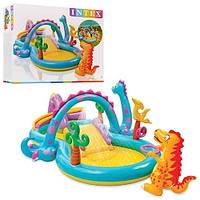Детский надувной игровой центр -бассейн с горкой Intex с динозавром 57135