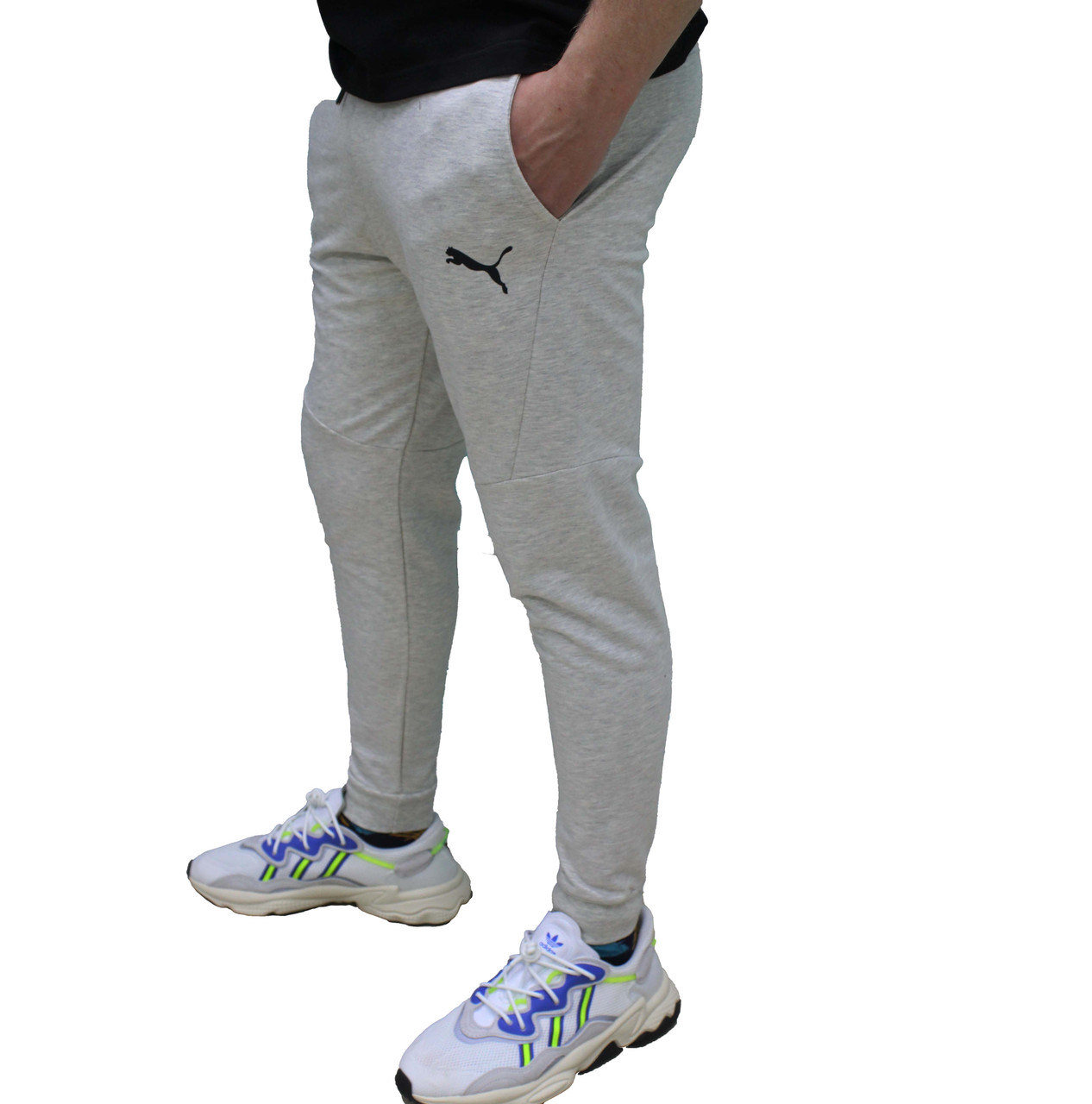 Молодежные светлые трикотажные серые спортивные штаны Puma BMW  (Реплика)