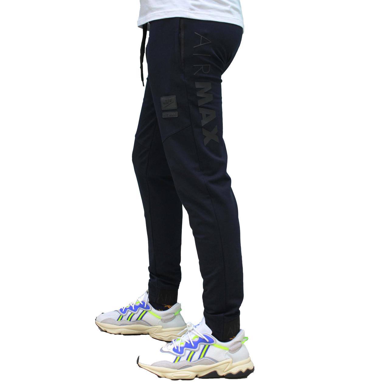 Спортивные трикотажные штаны синие на полуманжете (Реплика)