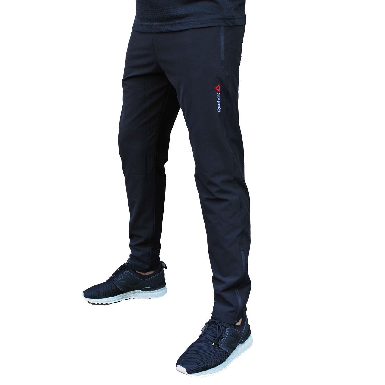 Черные летние прямые спортивные штаны Reebok плащевка стрейч (Реплика)