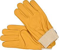 Перчатки рабочие желтые с текстильным стягивателем YATO кожа размер 10