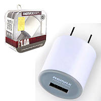 "Remax Charger Home USB mini 1A ""Cylinder"" white (плоская вилка)"