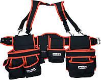 Пояс с 2 накладными сумками с карманами для инструментов YATO 1280 мм, фото 1