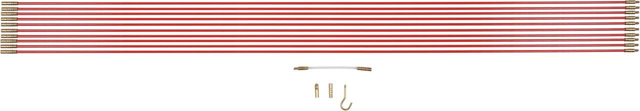 Протягувачі кабелів скловолокнисті YATO: 10 шт x 1 м, гнучкий подовжувач,гачок, 2 наконечника, 14 шт